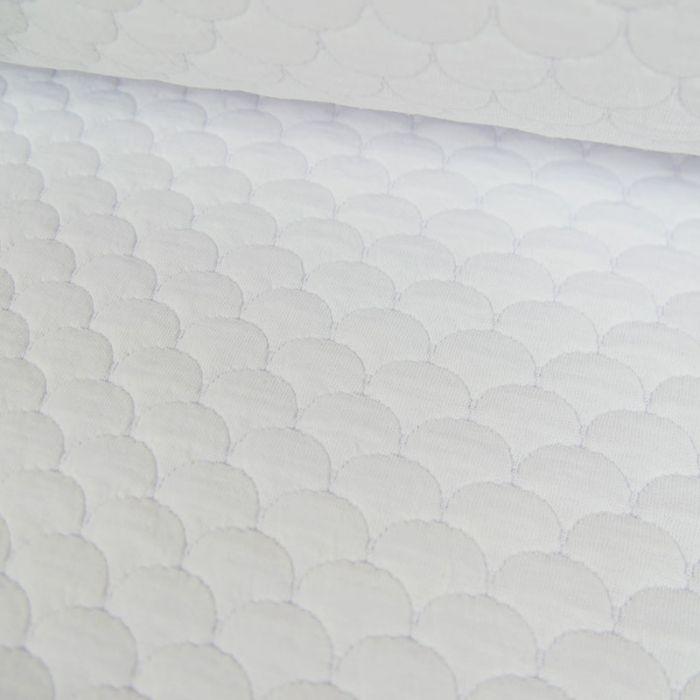 Coupon x 80 cm - Jersey matelassé coton écailles blanc