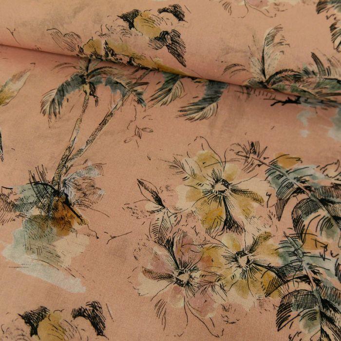 Tissu voile coton fleurs tropicales - rose x 10 cm
