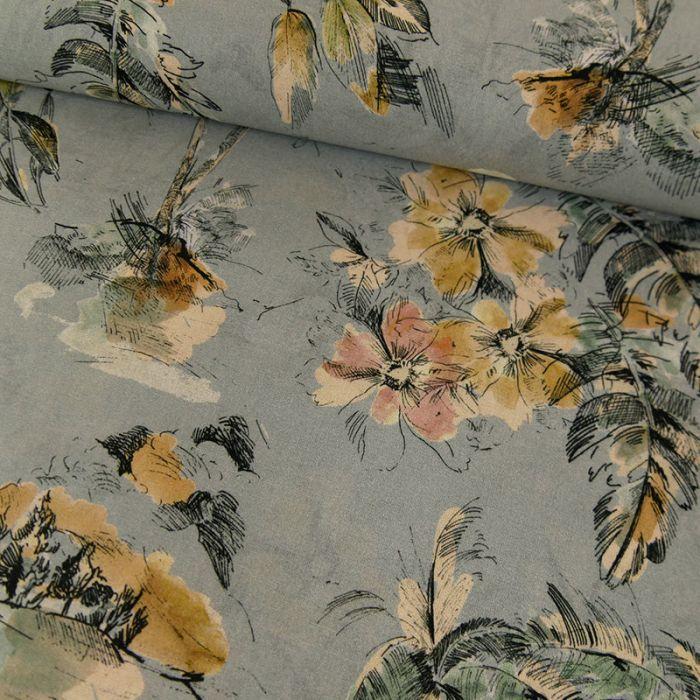 Tissu voile coton fleurs tropicales - bleu gris x 10 cm