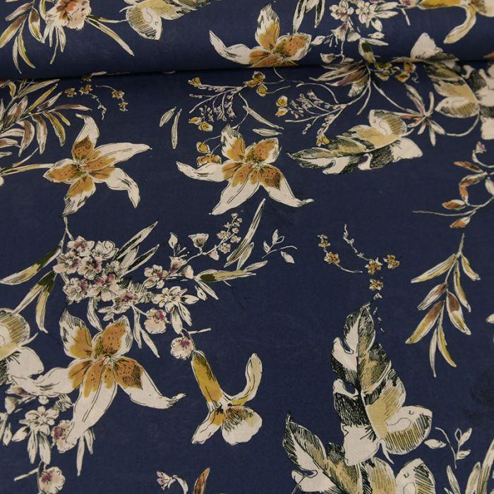 Tissu voile coton fleurs - bleu marine x 10 cm