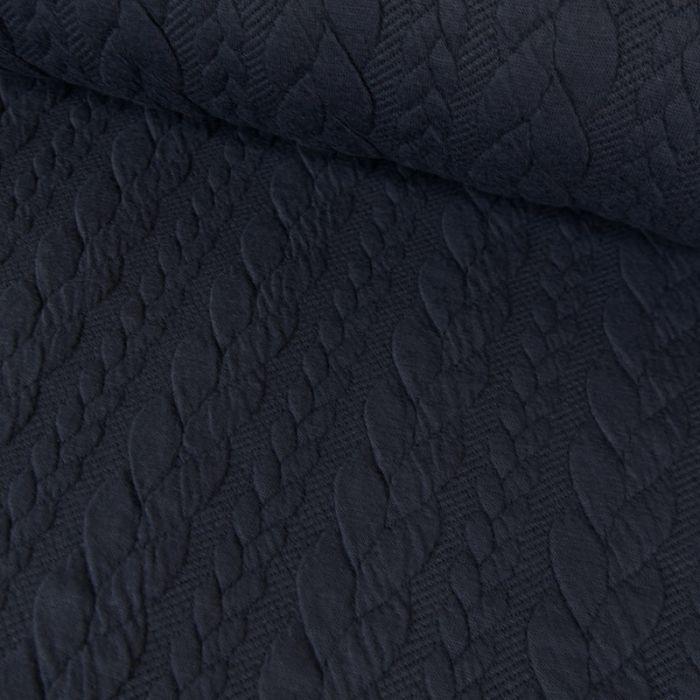 Tissu jersey matelassé torsades - marine x 10 cm