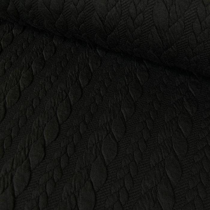Tissu jersey matelassé torsades - noir x 10 cm