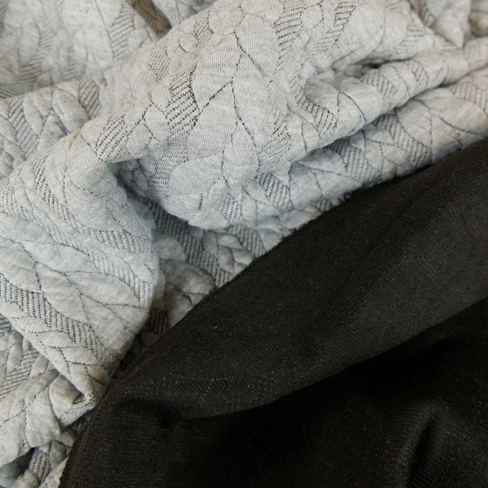 Tissu jersey matelassé torsades - gris clair chiné x 10 cm