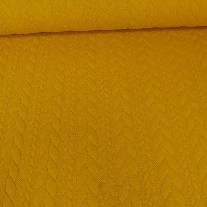 Tissu jersey matelassé torsades - moutarde x 10 cm
