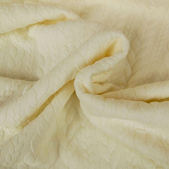 Tissu jersey matelassé torsades - écru x 10 cm