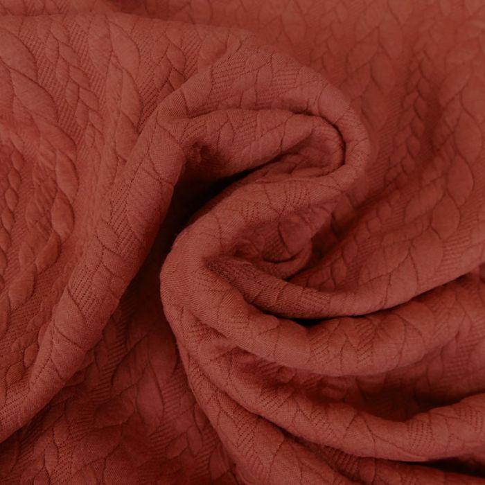 Tissu jersey matelassé torsades - rouille x 10 cm