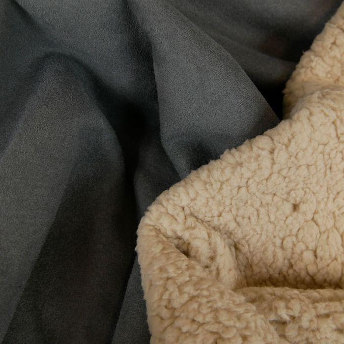 Tissu suédine envers fourrure mouton - gris foncé x 10 cm