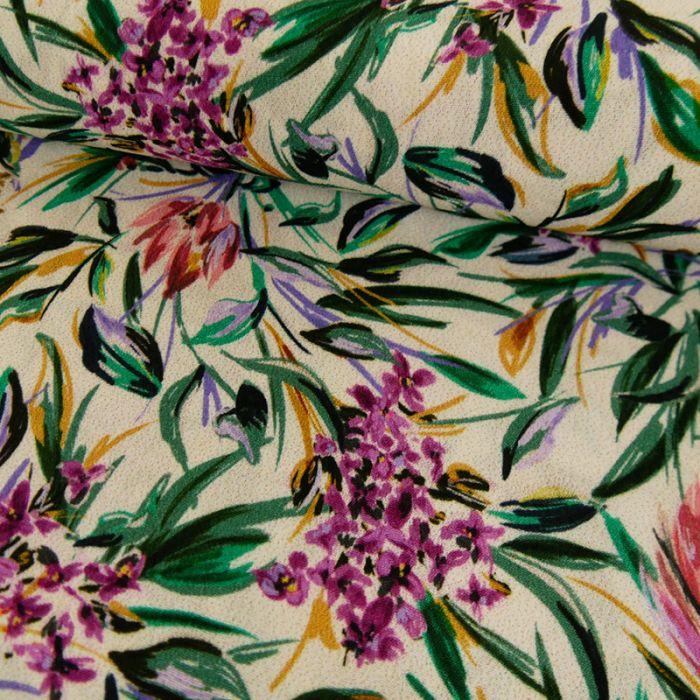 Tissu viscose fleurs - écru x 10 cm