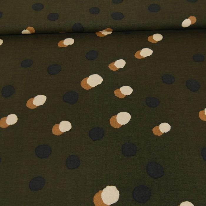 Tissu viscose pois beige - kaki x 10 cm