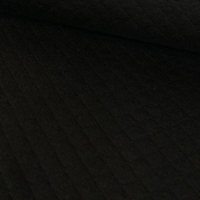 Jersey matelassé coton chiné - noir x 10 cm