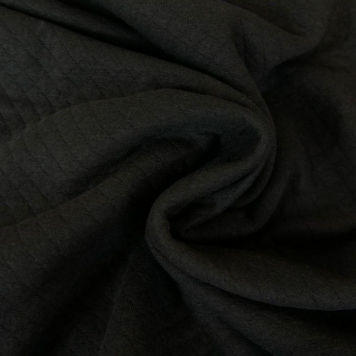 Jersey matelassé coton - noir x 10 cm
