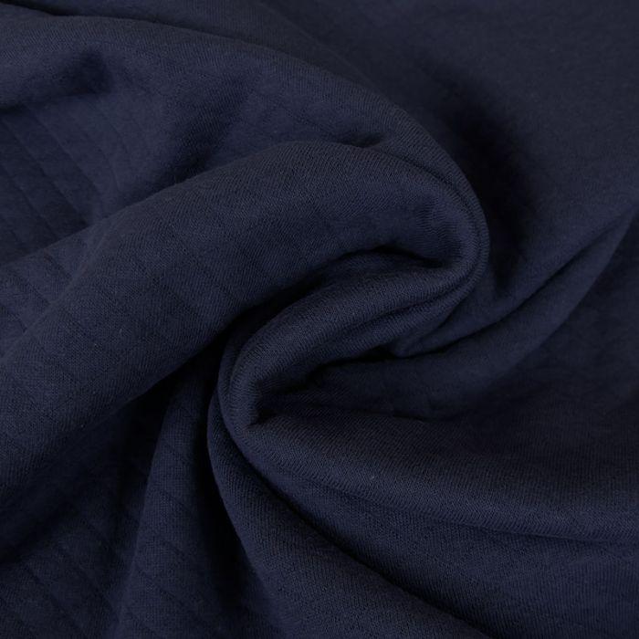 Jersey matelassé coton chiné - bleu marine x 10 cm