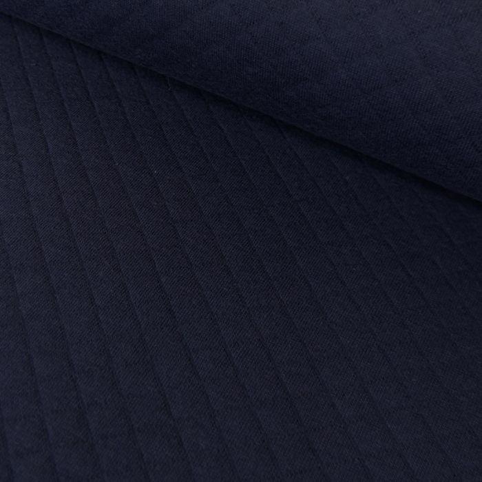 Jersey matelassé coton - bleu marine x 10 cm