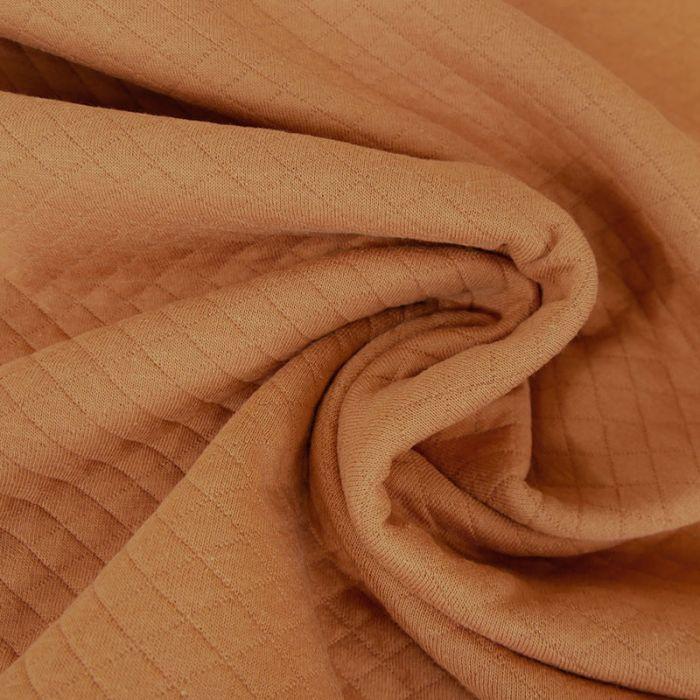 Jersey matelassé coton chiné - noisette x 10 cm