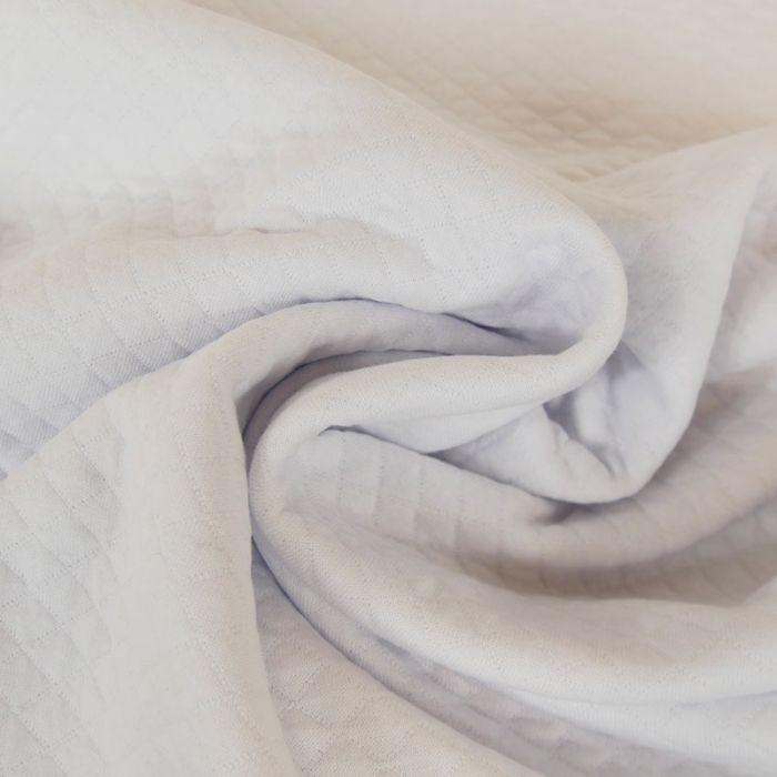Jersey matelassé coton - blanc x 10 cm