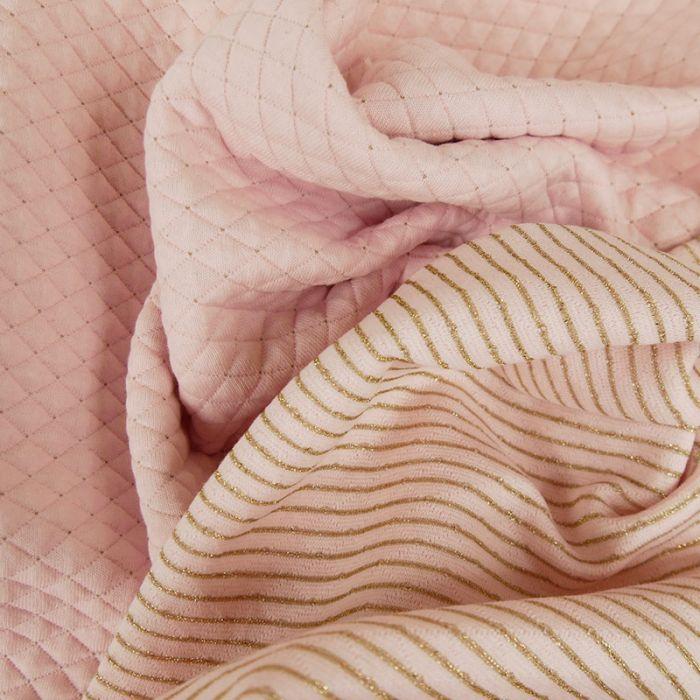 Jersey matelassé réversible rose - or x 10 cm