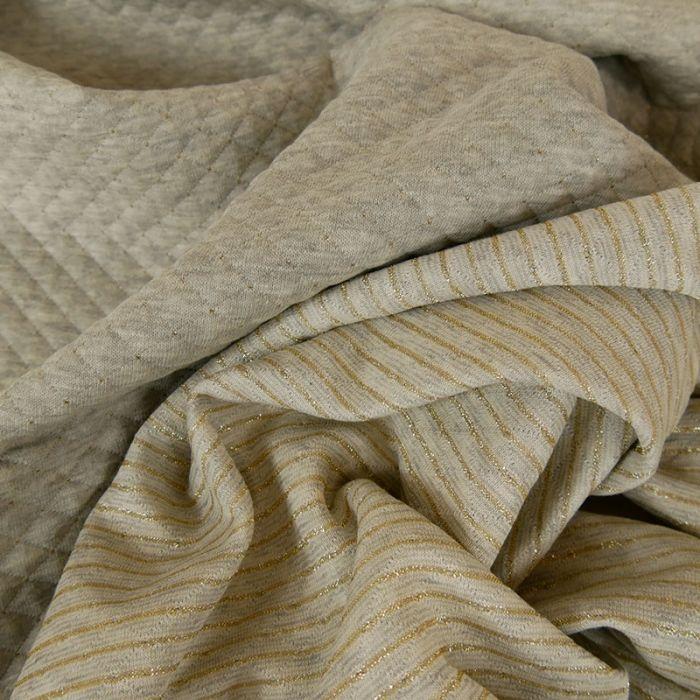 Jersey matelassé réversible gris clair - or x 10 cm