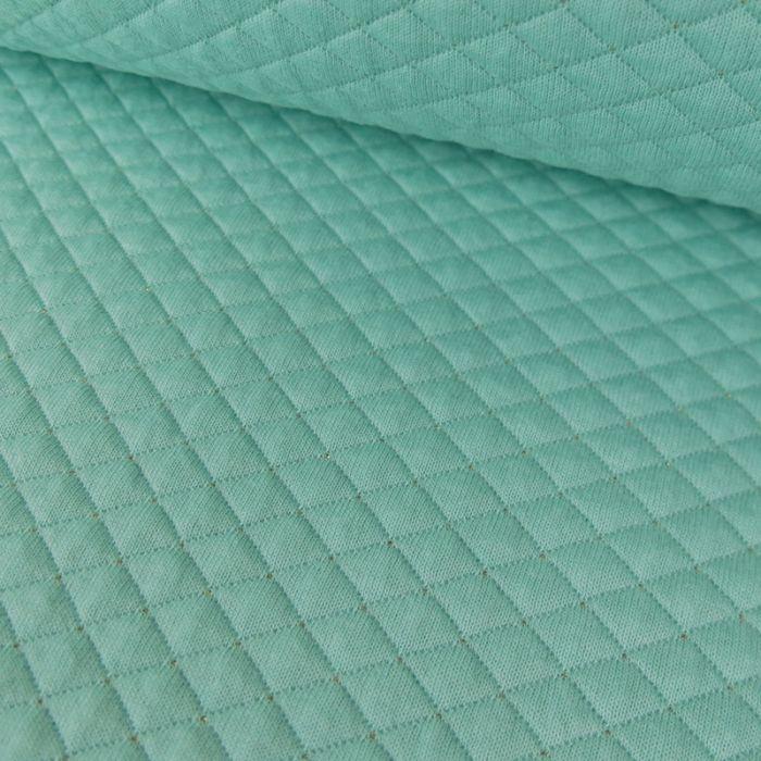 Jersey matelassé réversible mint - or x 10 cm