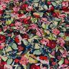 Tissu coton fleurs rouges roses - marine x 10 cm