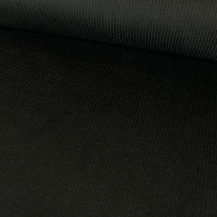 Tissu velours côtelé uni - noir x 10 cm