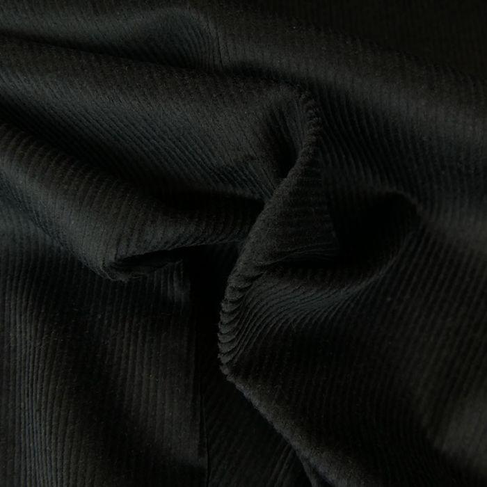 Tissu velours côtelé fin - noir x 10 cm