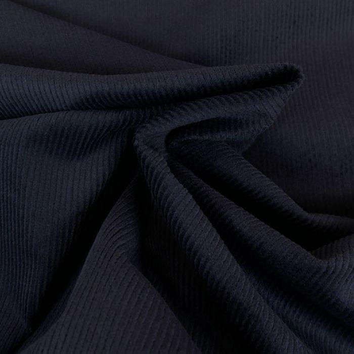 Tissu velours côtelé uni - bleu marine x 10 cm