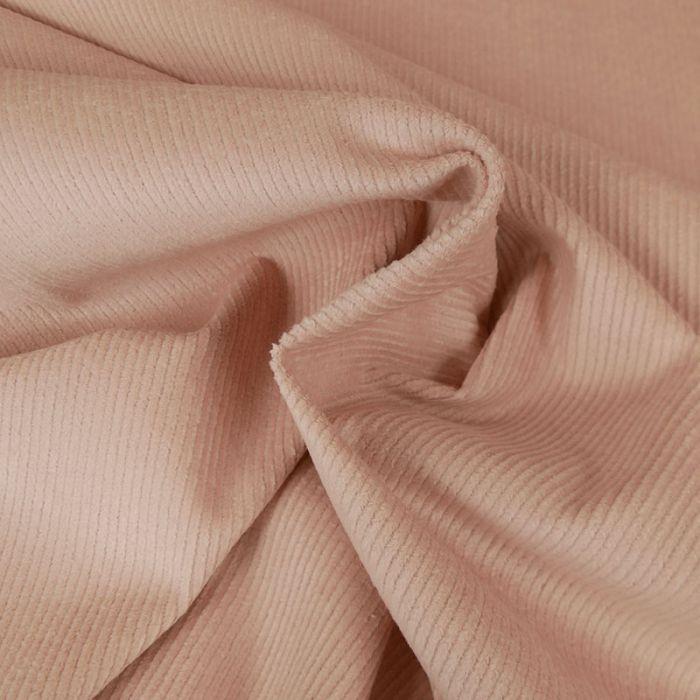 Tissu velours côtelé uni - rose poudre x 10 cm