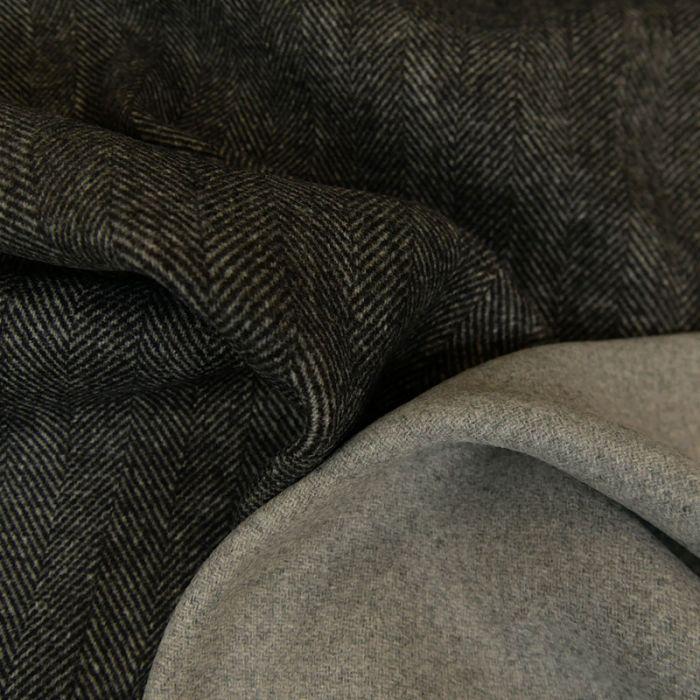 Tissu lainage chevrons - gris foncé x 10 cm