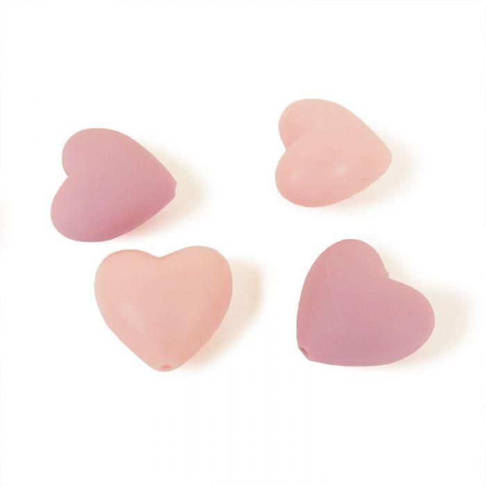 Perles coeurs en silicone x 4