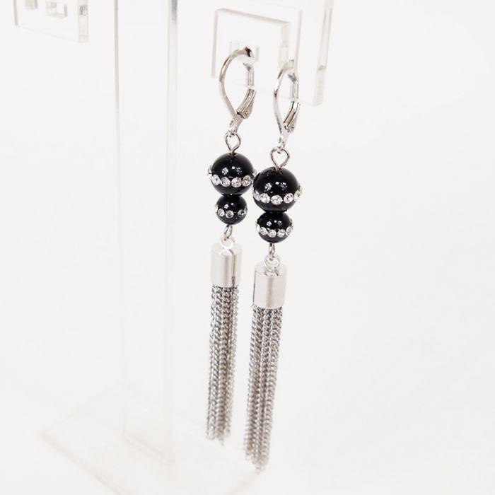 Kit : Boucles d'oreilles onyx strass et chaîne