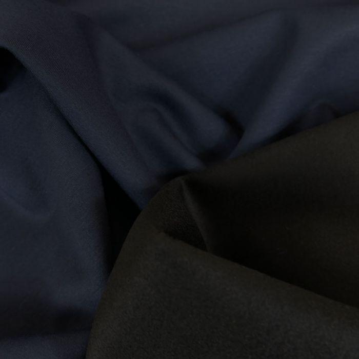 Tissu lainage cachemire scuba - bleu marine x 10 cm
