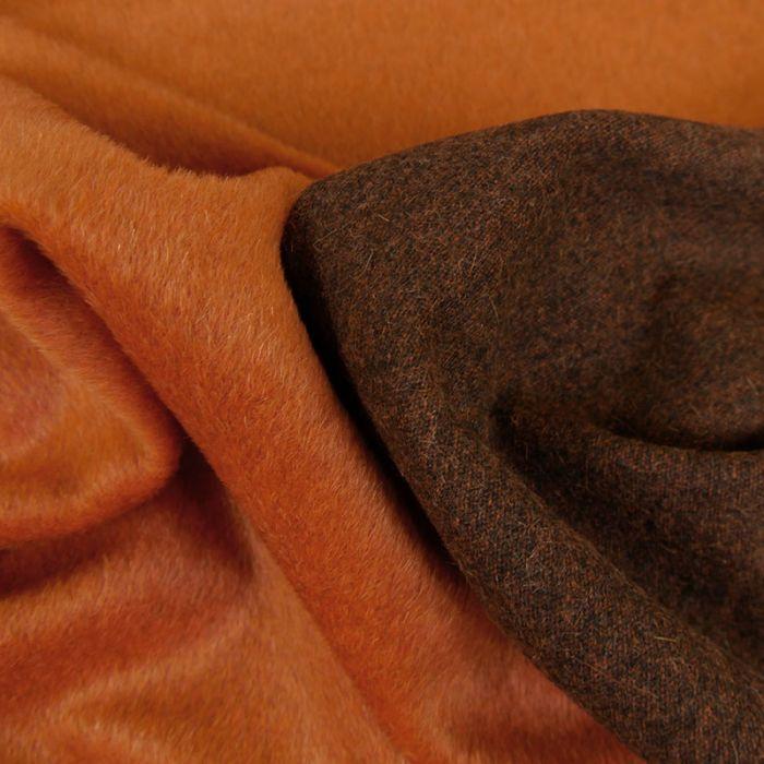 Tissu laine et Alpaga marron - orange x 10 cm