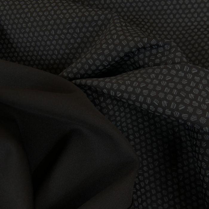 Tissu viscose élasthanne géométrique - noir x 10 cm