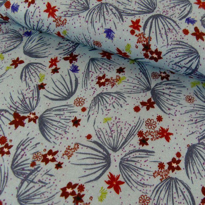 Tissu viscose fleurs rouges - bleu clair x 10 cm