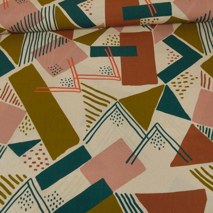 Tissu viscose géométrique - beige x 10 cm