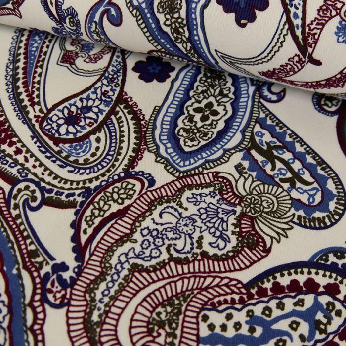 Tissu coton élasthanne motifs cachemire bleu - blanc x 10 cm