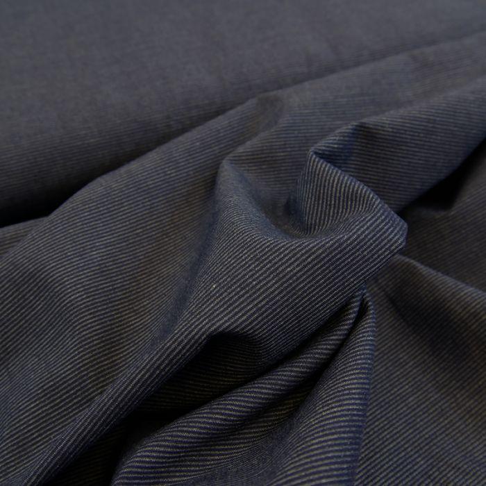 Tissu coton fines rayures - bleu foncé x 10 cm