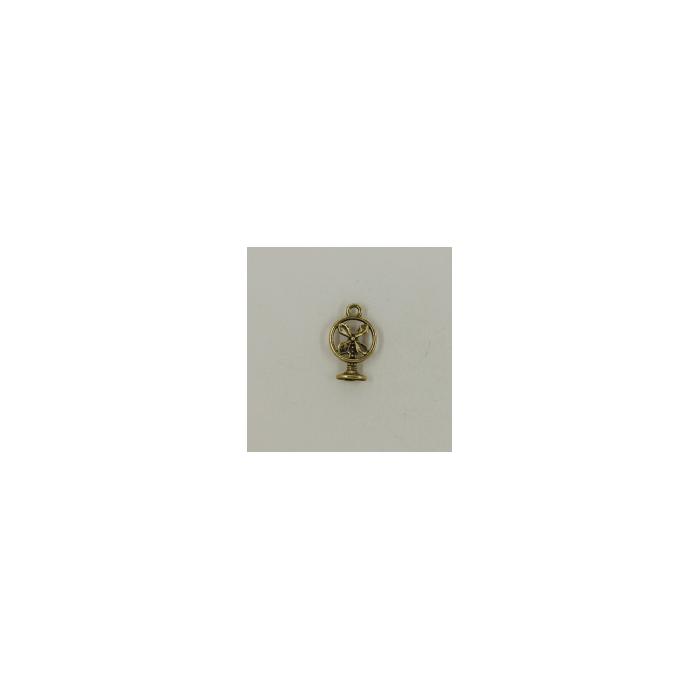 Breloque ventilateur 18mm dorée x1