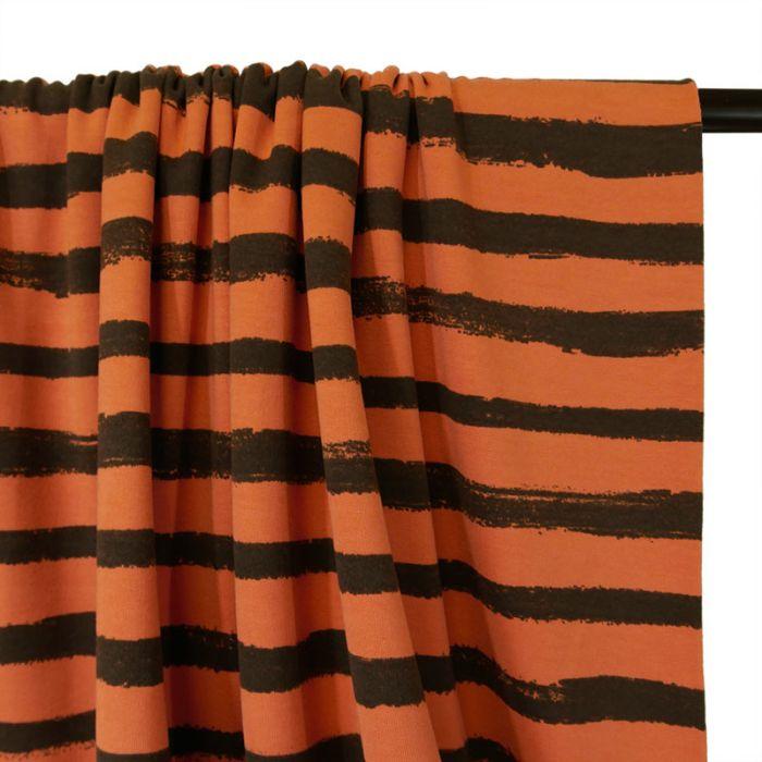 Coupon tissu Jersey Rayures Noires Brique - 90 X 150 cm