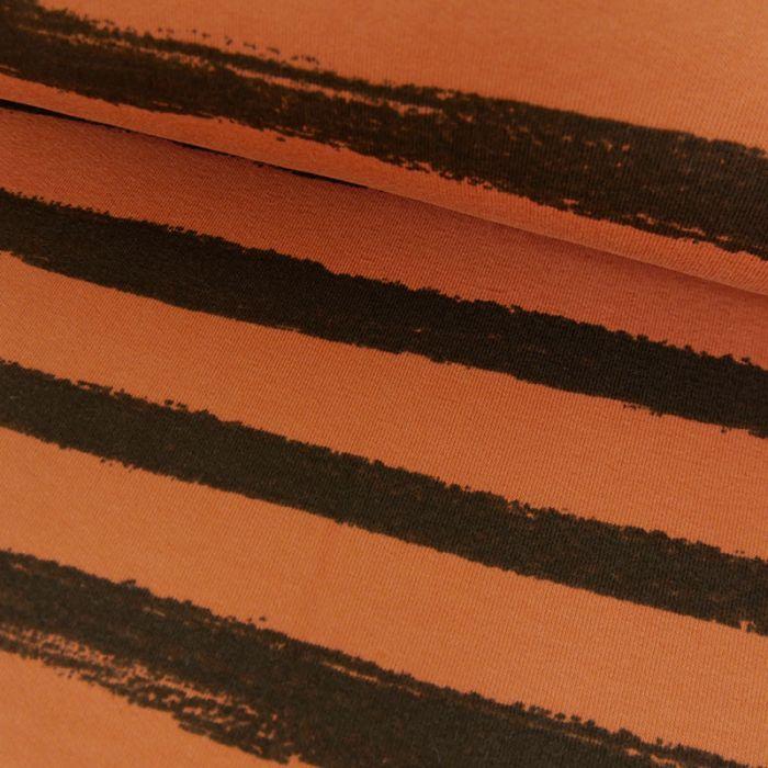 Tissu Jersey Rayures Noires - Brique x 10 cm