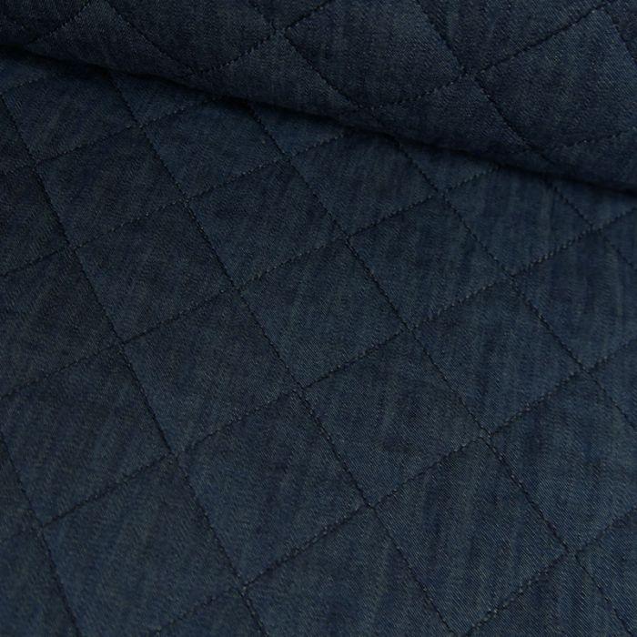 Tissu coton matelassé - bleu jean x 10 cm