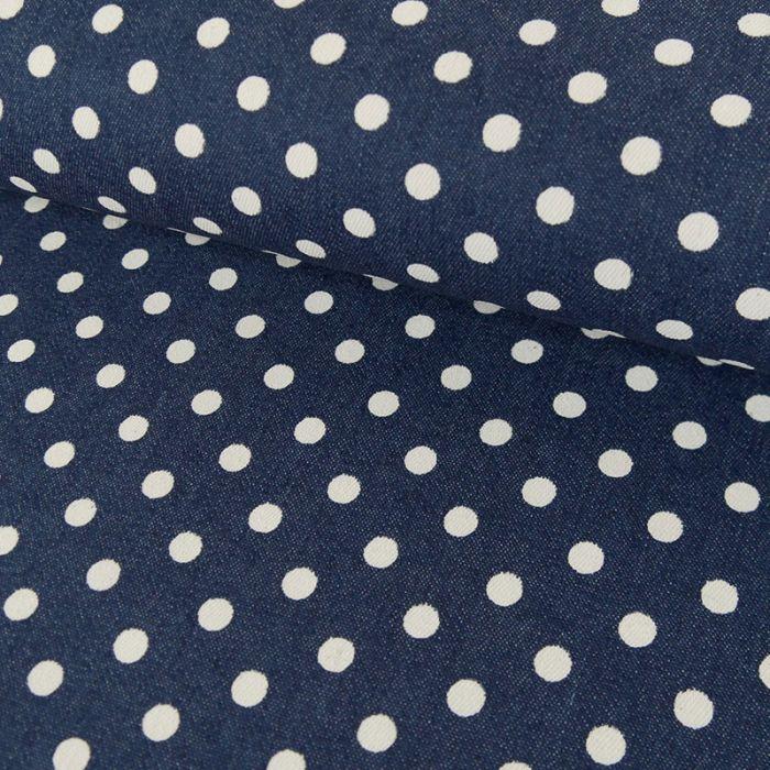 Tissu coton élasthanne pois - bleu denim x 10 cm