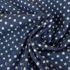 Tissu chambray pois - bleu denim x 10 cm