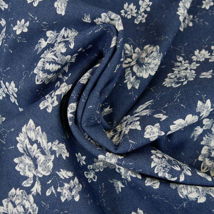 Tissu coton élasthanne fleurs - bleu denim x 10 cm