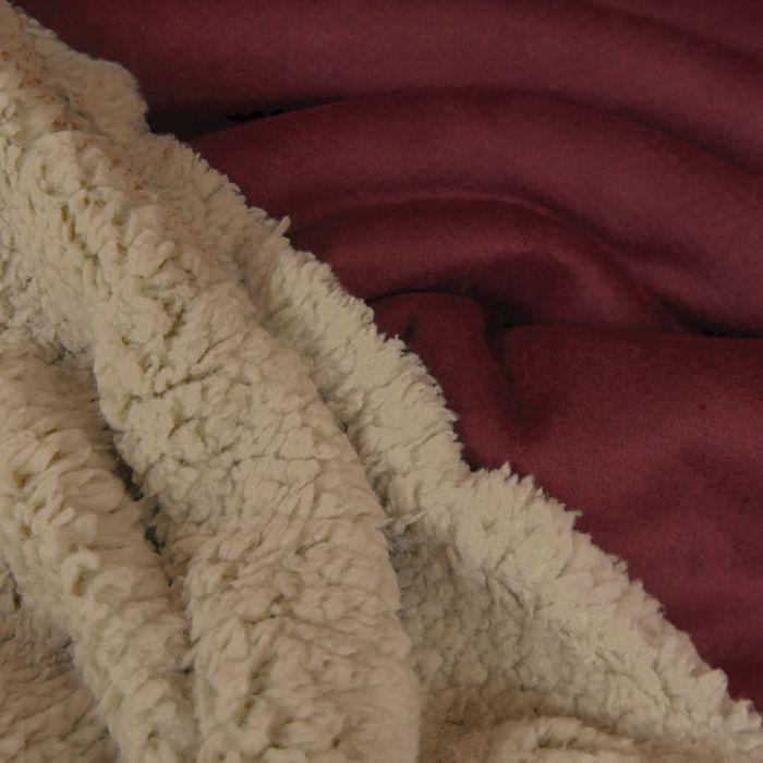 Tissu suédine envers fourrure mouton - bordeaux x 10 cm