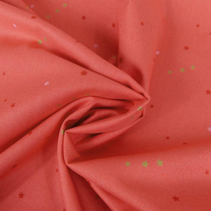 Tissu coton étoiles - corail x 10 cm