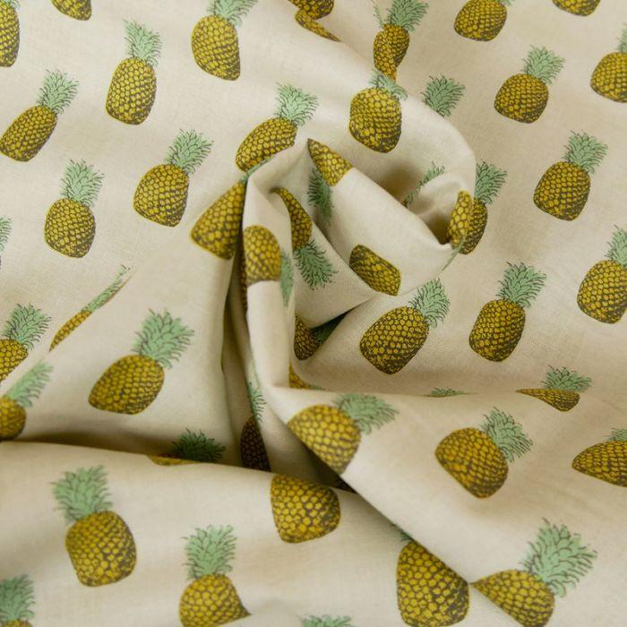 Tissu coton ananas - écru x 10 cm