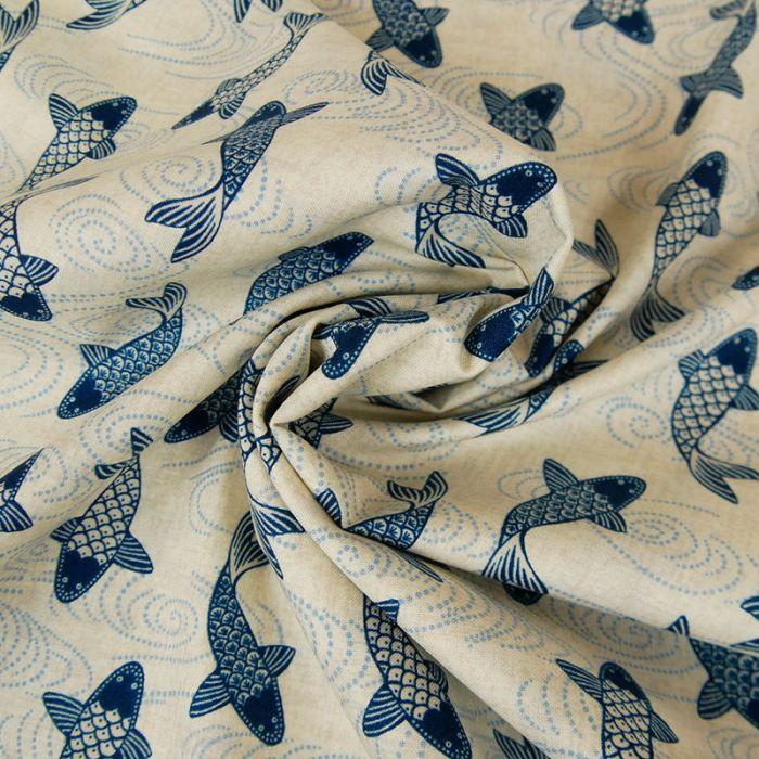 Tissu coton poissons - beige x 10 cm