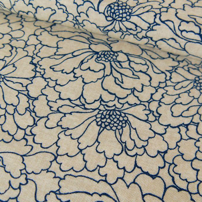 Tissu coton fleurs bleues - beige x 10 cm