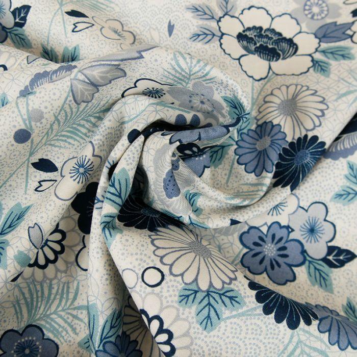 Tissu coton fleurs bleu foncé - blanc x 10 cm